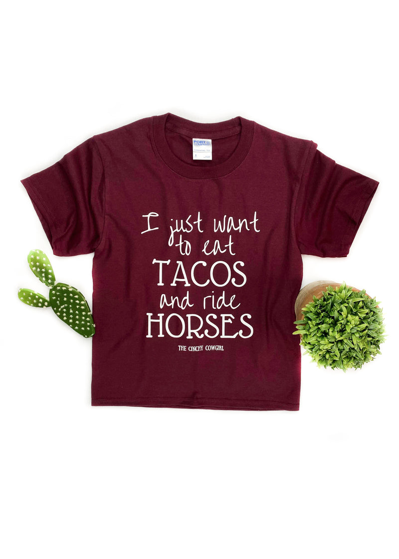 YOUTH Maroon Eat Tacos & Ride Horses Graphic Short Sleeve Tee