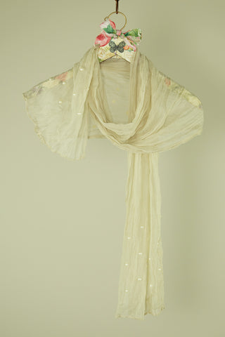 SHEER CREAM SCARF WITH PEARL DETAIL