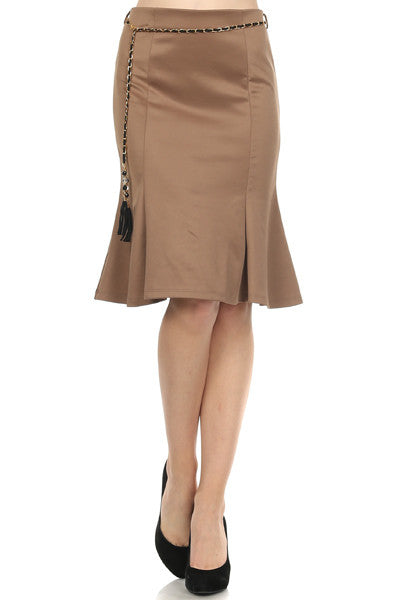 Caramel-colored Trumpet Skirt w/Belt