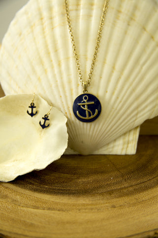 Anchor Pendant Necklace & Earring Set