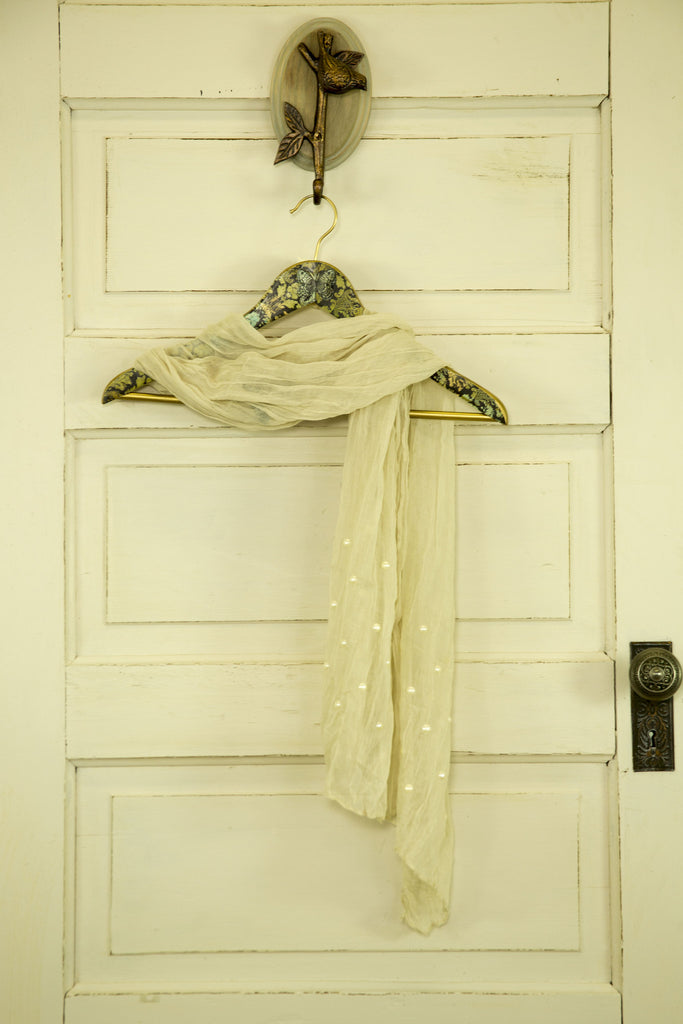 Sheer Scarf with Pearl Detail