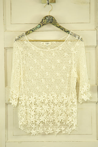 Crocheted 3/4 Sleeve Floral Top