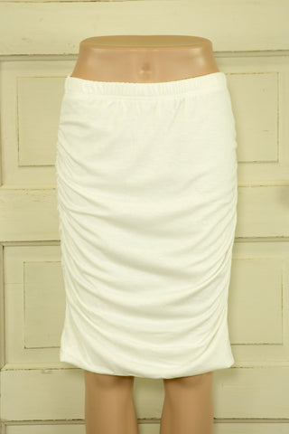 Gathered Hemless Midi Bamboo Skirt