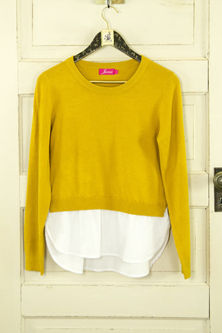 Mustard Mock-layer Sweater