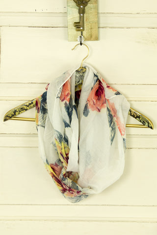 Muted Floral Print Infinity Scarf
