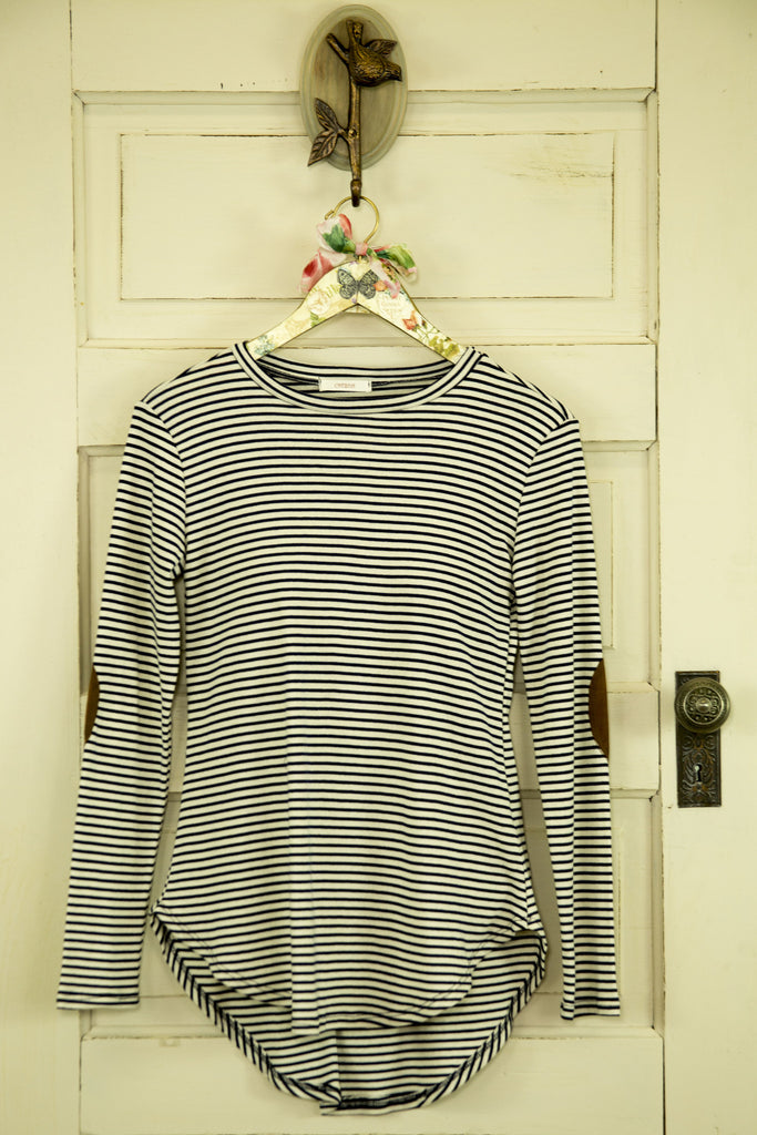 Long Sleeve Striped Shirt w/ Elbow Detailing