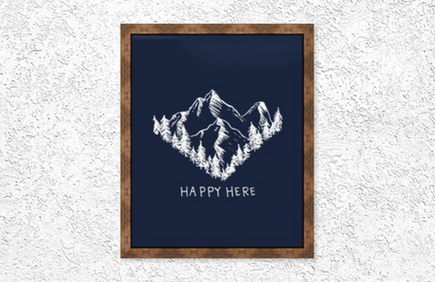 Happy Here Mountain Print