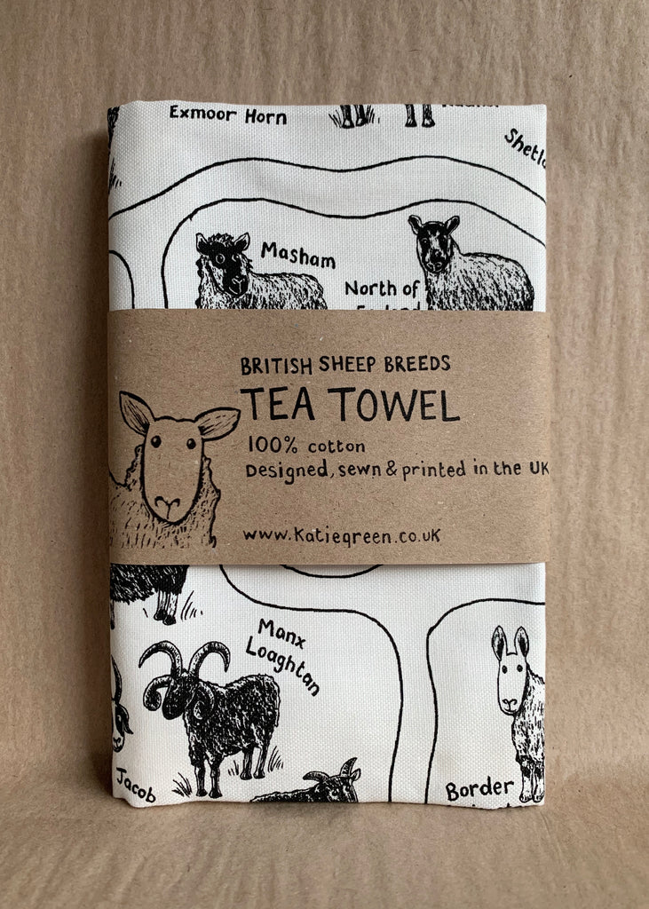 British Sheep Breeds Tea Towel by Katie Green