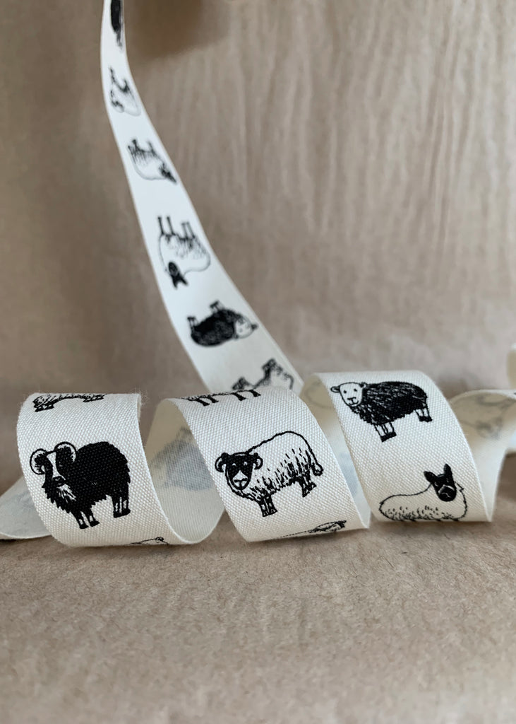 British Sheep Breeds Cotton Ribbon by Katie Green