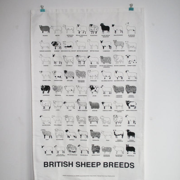 British Sheep Breeds Tea Towel