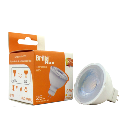 FOCO LED MR16 3W GU5.3 3000K BRILLAMAX - LUMIKON