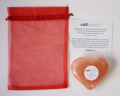 Red mesh bag, card, heart-shaped Himalayan salt stone