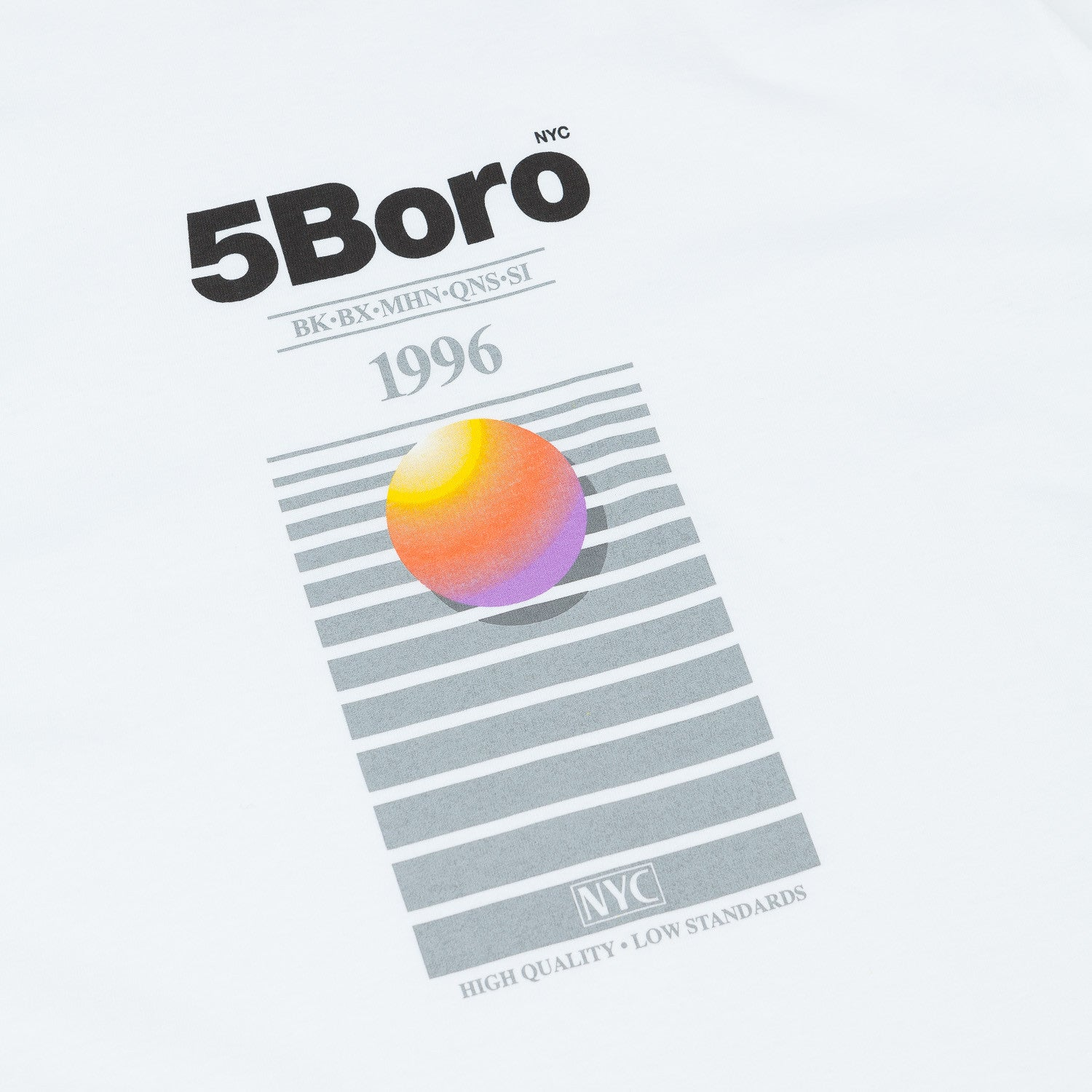 5Boro 5B VHS Plus T-Shirt - White / Grey