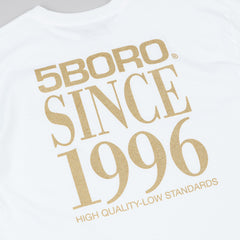 5Boro 5B VHS Stack T-Shirt - White / Gold