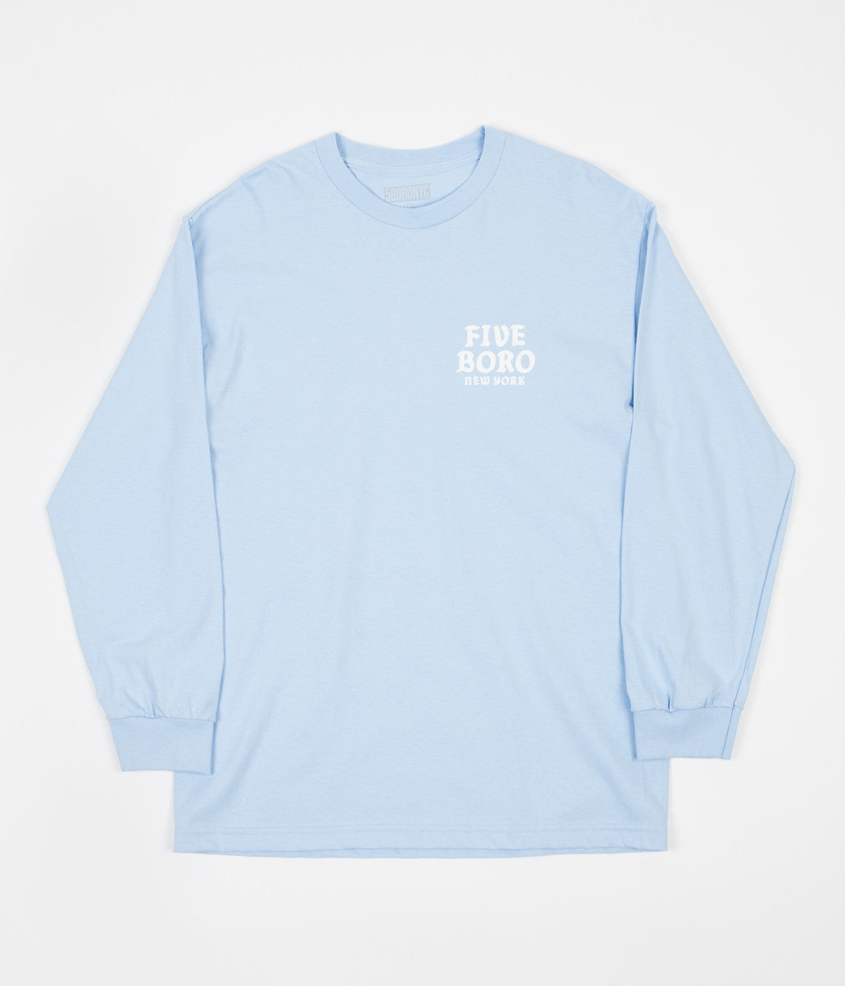 5Boro Skull & Cat Long Sleeve T-Shirt - Powder Blue
