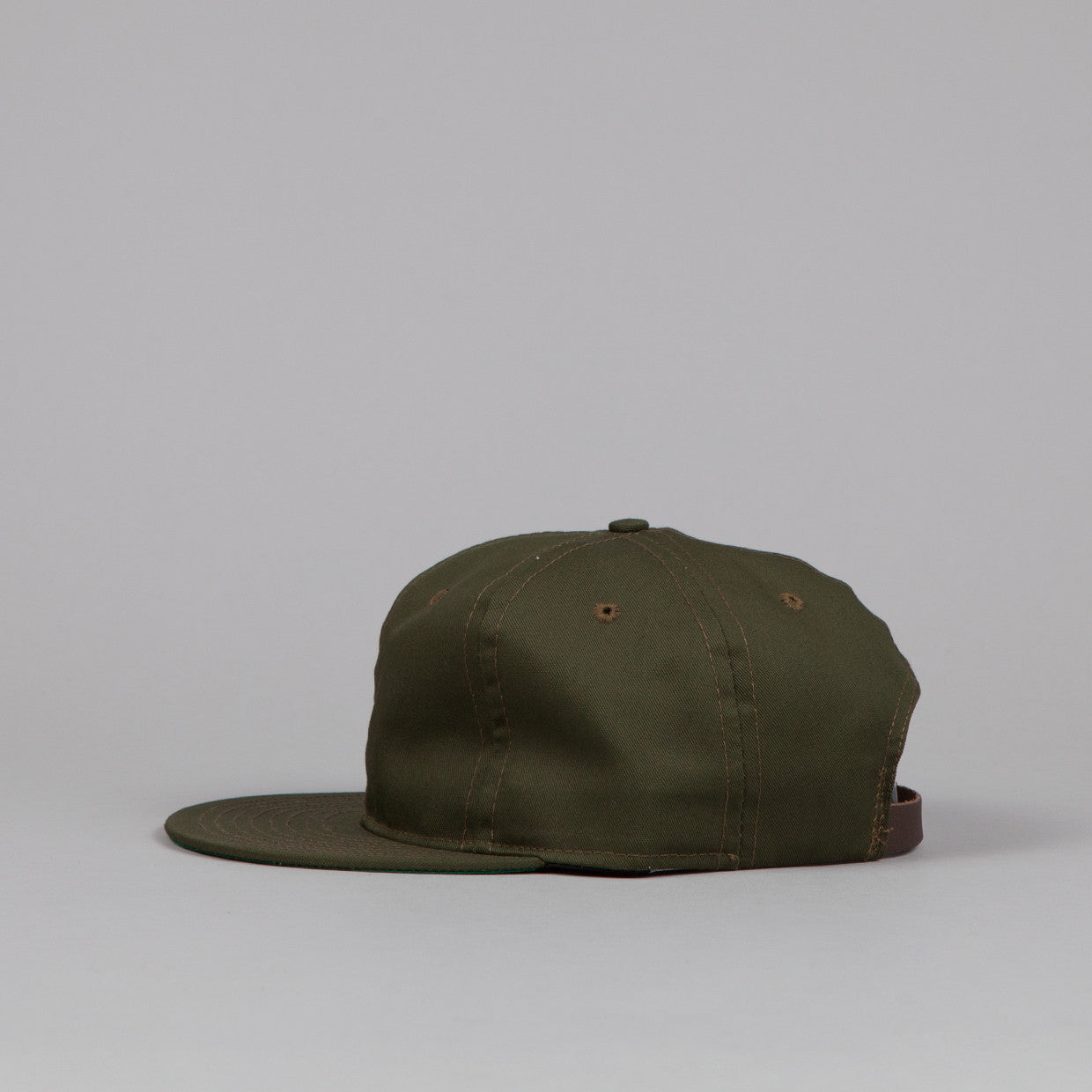 Ebbets Field Flannels Plain Strapback Cap Olive