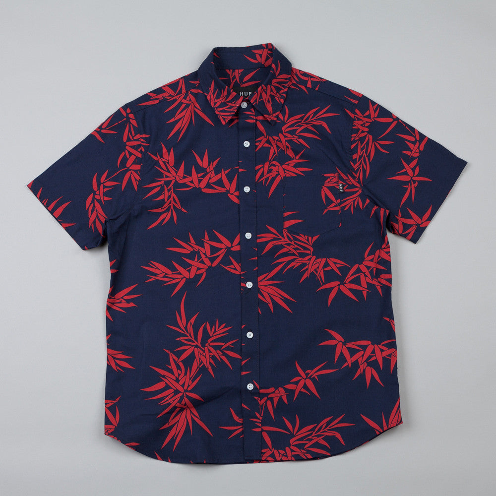Huf Bamboo Short Sleeve Woven Shirt Navy / Red