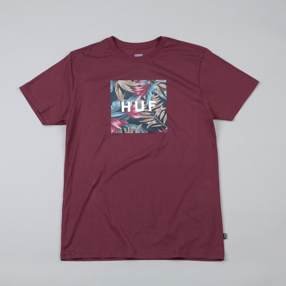 HUF Box Logo Fill Waikiki T Shirt Burgundy