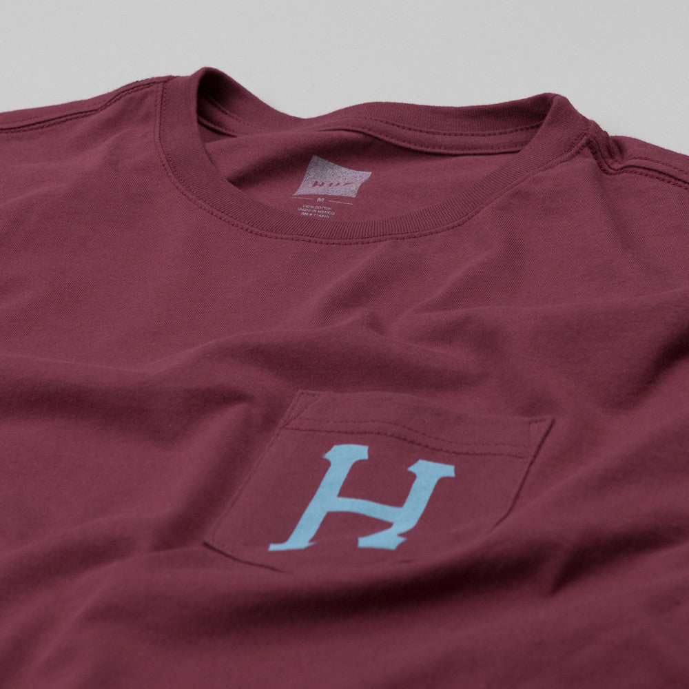 HUF Classic H Pocket T Shirt Burgundy