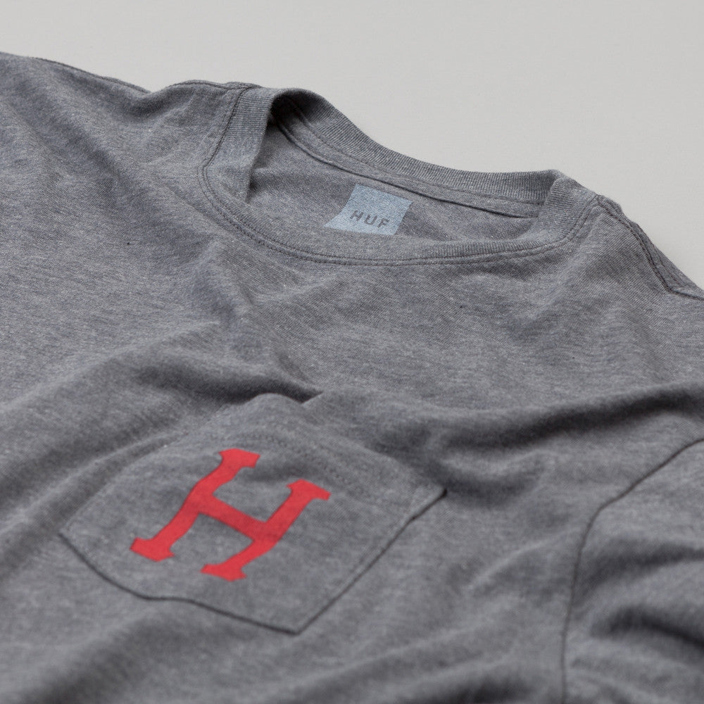 HUF Classic H Pocket T Shirt Grey Heather