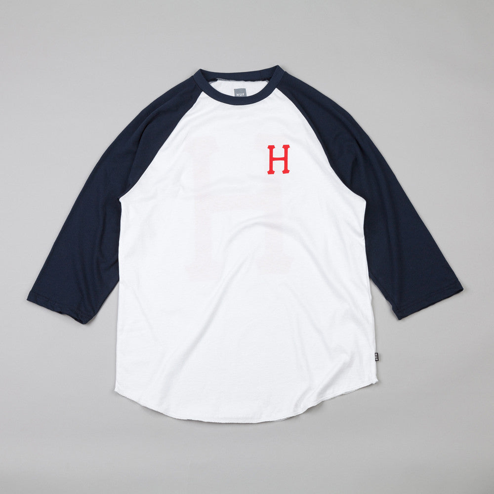 Huf Classic H Raglan T Shirt White / Navy / Red