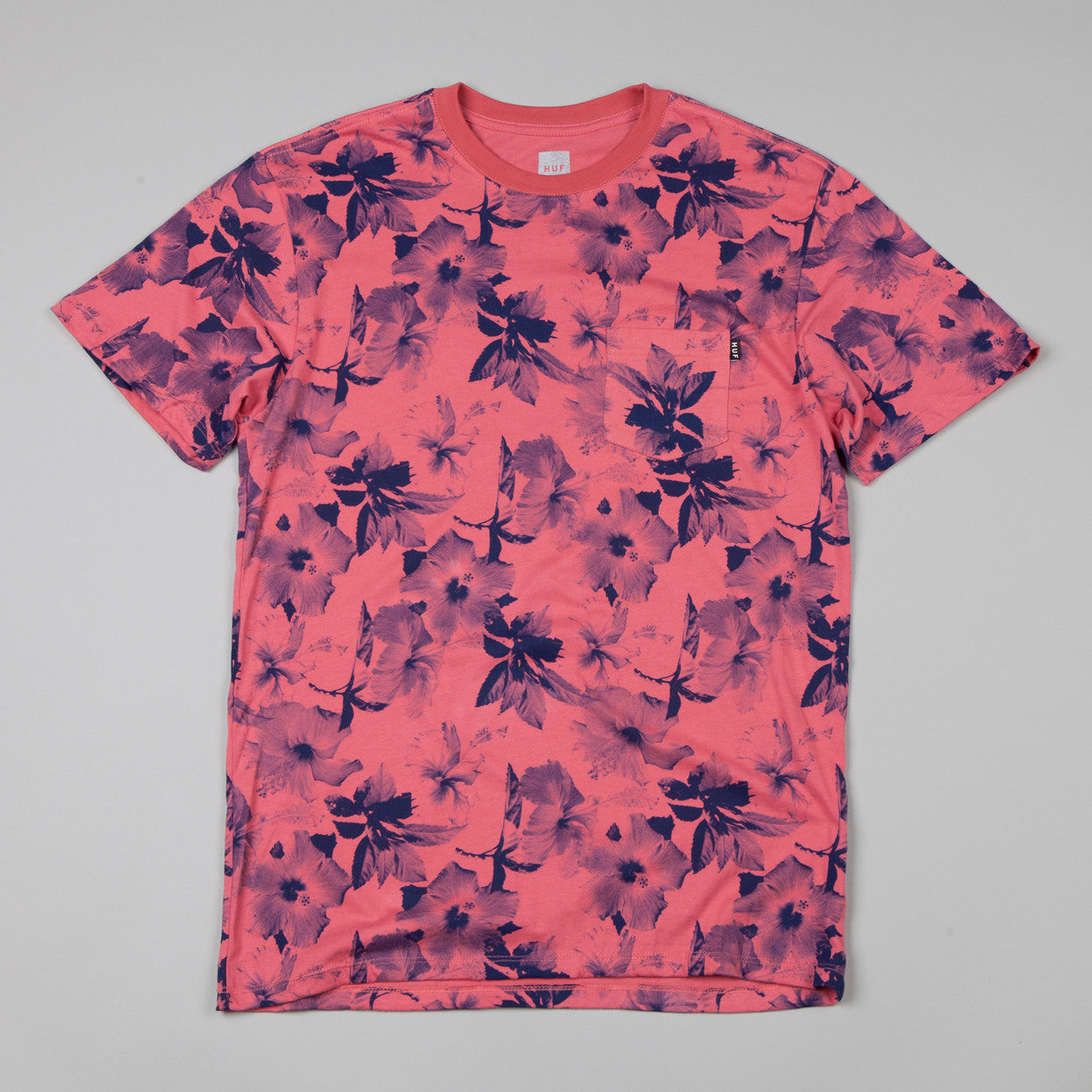 HUF Floral Pocket T-shirt Salmon / Navy