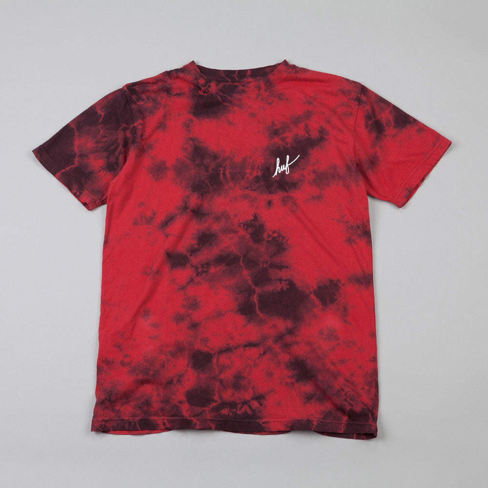 HUF Small Script Crystal Wash T Shirt Red