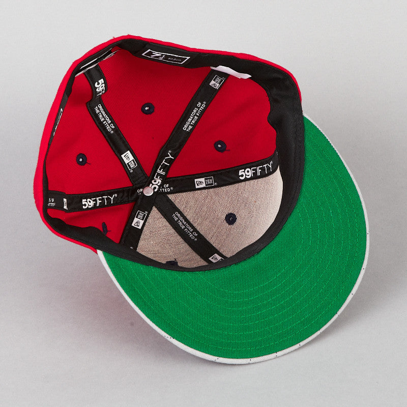 HUF PINSTRIPE BILL CLASSIC H NEW ERA CAP SCARLET RED