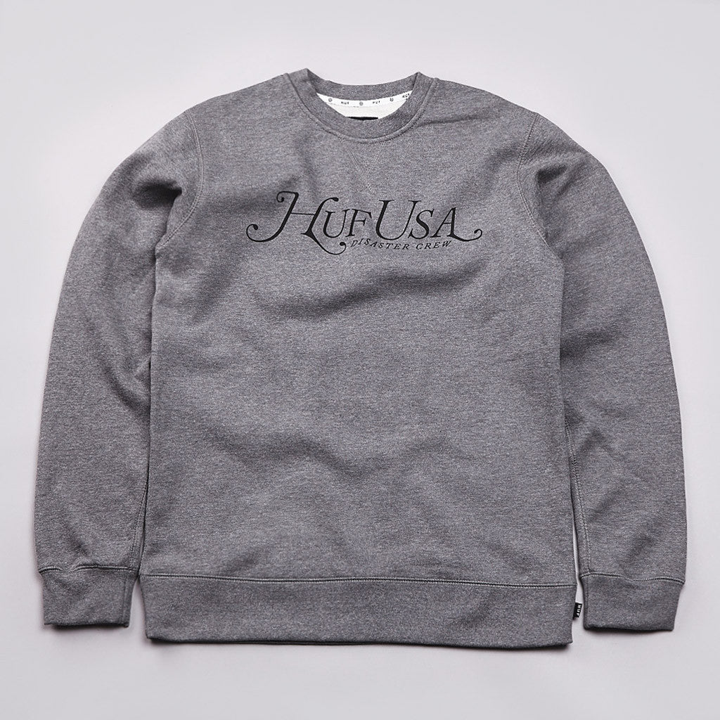 Huf Manhattan Crew Neck Sweatshirt Gunmetal Heather