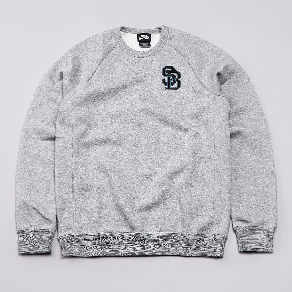 Nike SB Woodgrain Crew Neck Sweatshirt Dark Grey Heather / Black