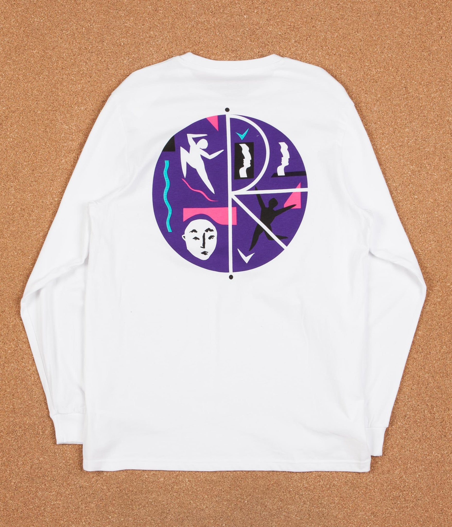 Polar Cut Out Fill Logo Long Sleeve T-Shirt - White
