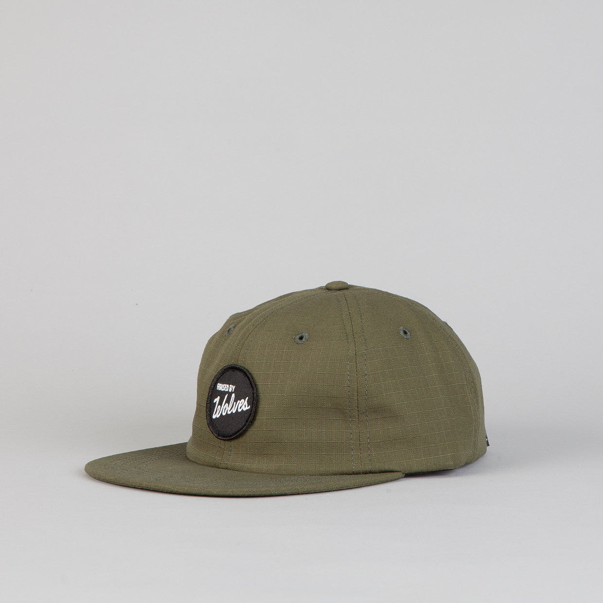 Raised By Wolves Polo Cap Varsity Circle Army Green Ripstop
