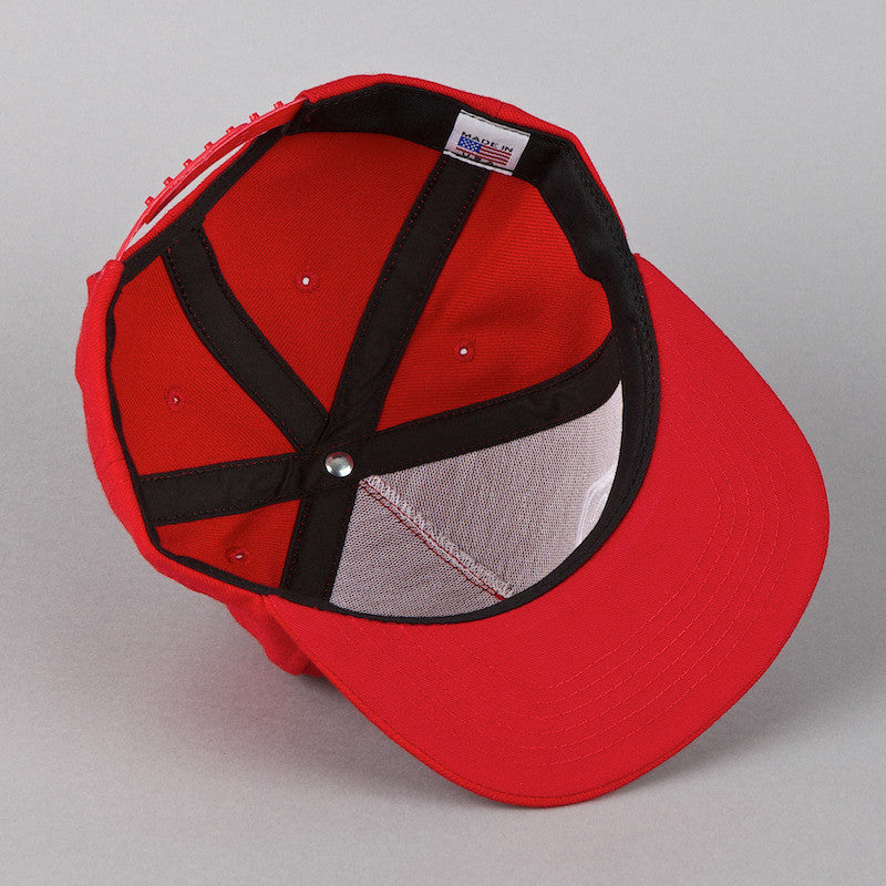 Rockwell Scrambled 5 Panel Snapback Cap Red