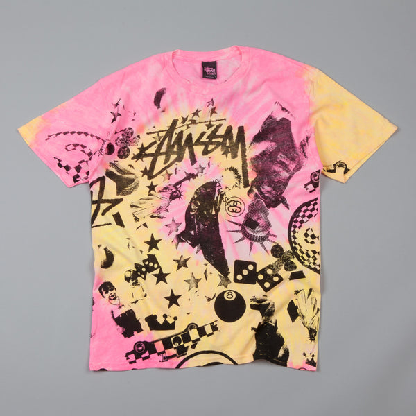 Stussy Classic Collage Tie Dye T-Shirt Pink