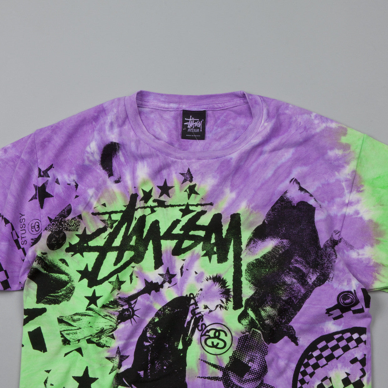Stussy Classic Collage Tie Dye T-Shirt Purple