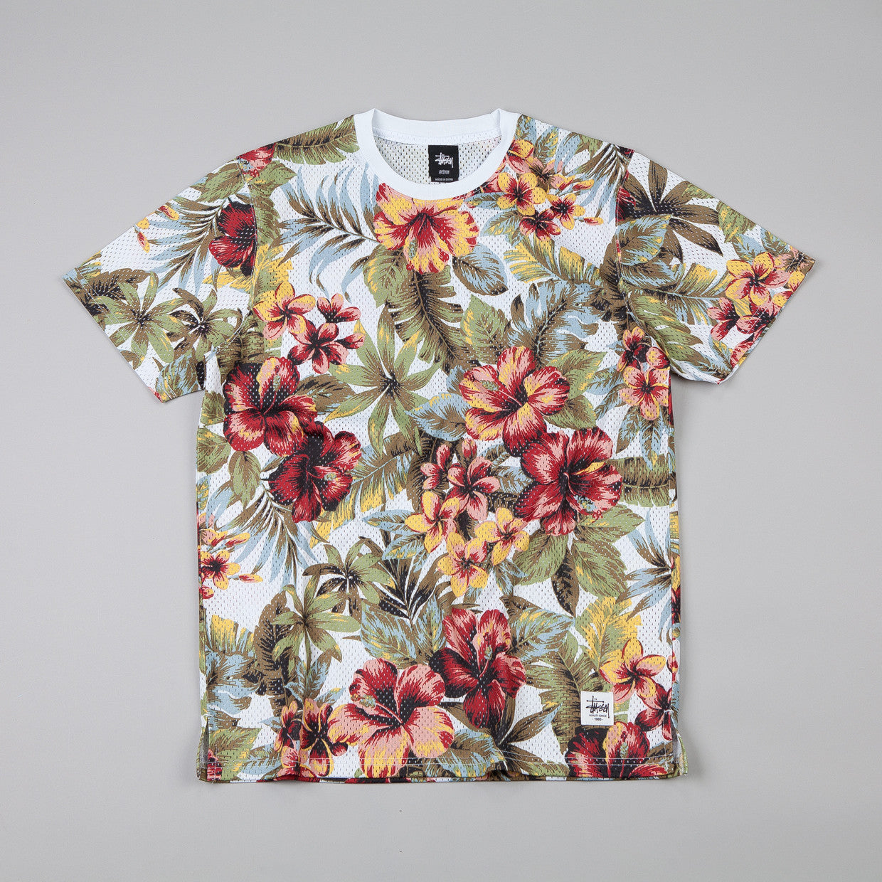 Stussy Island Flower Mesh T-shirt Natural