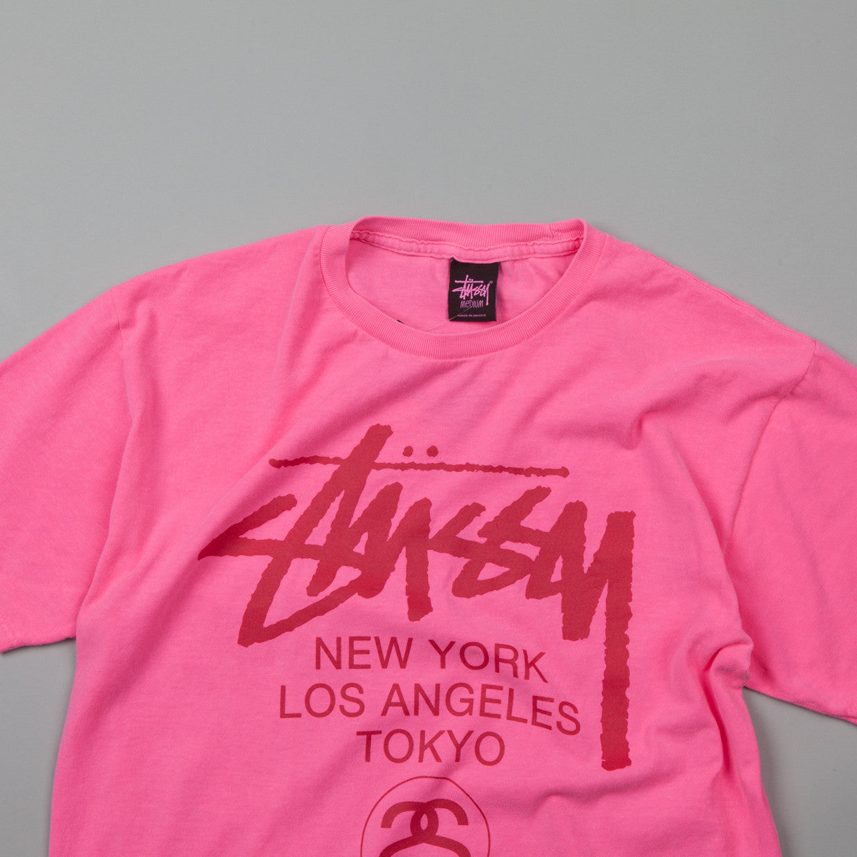 Stussy World Tour T-shirt Neon Pink