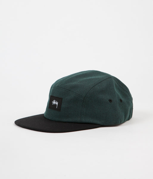 Stussy Black Melange Twill Camp Cap - Green