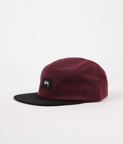 Stussy Black Melange Twill Camp Cap - Red