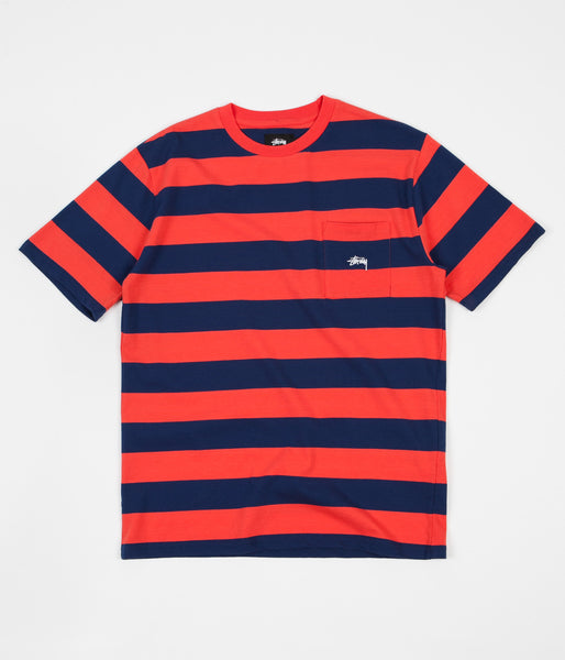 Stussy Range Stripe Pocket Crewneck T-Shirt - Orange
