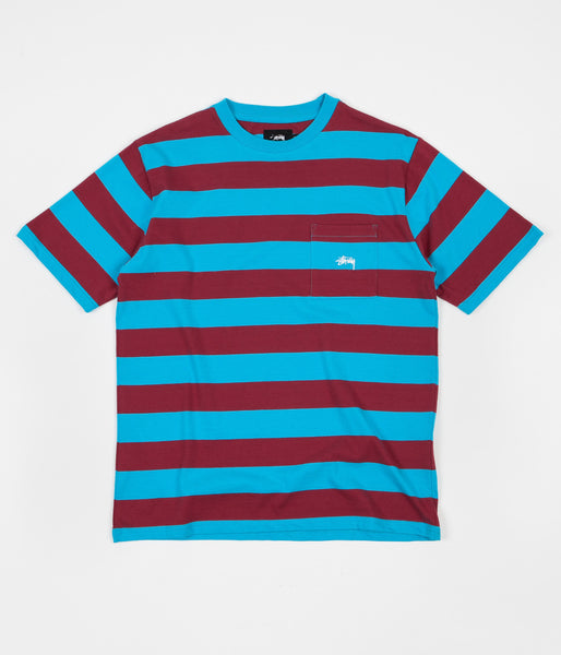 Stussy Range Stripe Pocket Crewneck T-Shirt - Teal