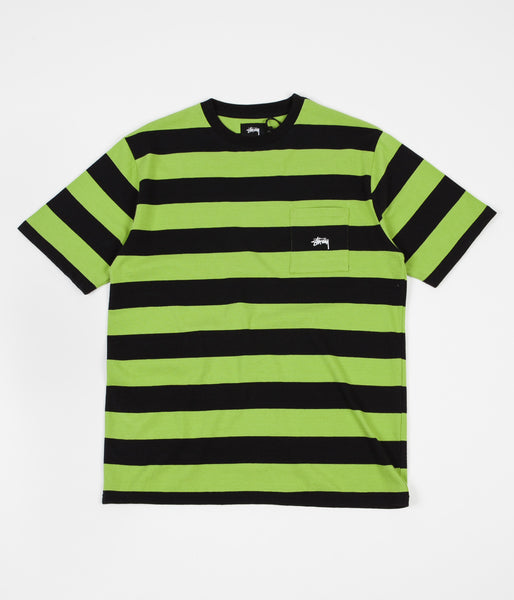 Stussy Range Stripe Pocket Crewneck T-Shirt - Black