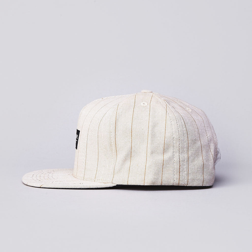 The Quiet Life Pinstripe Dart Snapback Cap Tan