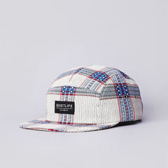 The Quiet Life Loom 5 Panel Cap Cream / Red / Blue