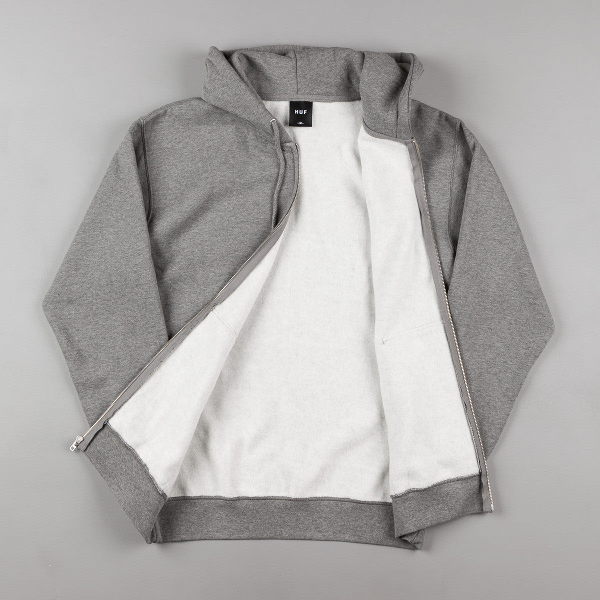 HUF Classic H Zip Up Hooded Sweatshirt - Grey Heather