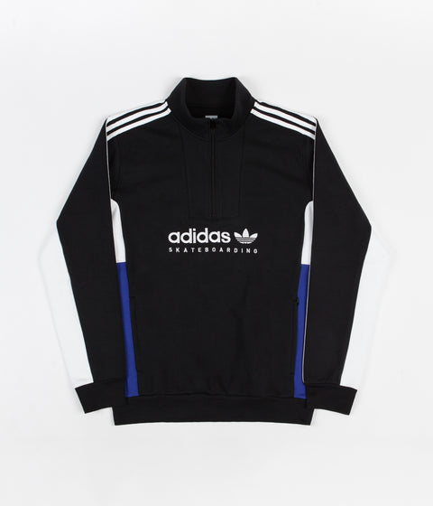 Adidas Apian Zip Neck Sweatshirt - Black / White / Active Blue