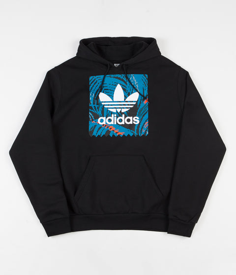 Adidas BB Print Hoodie - Black / Active Teal / Active Orange