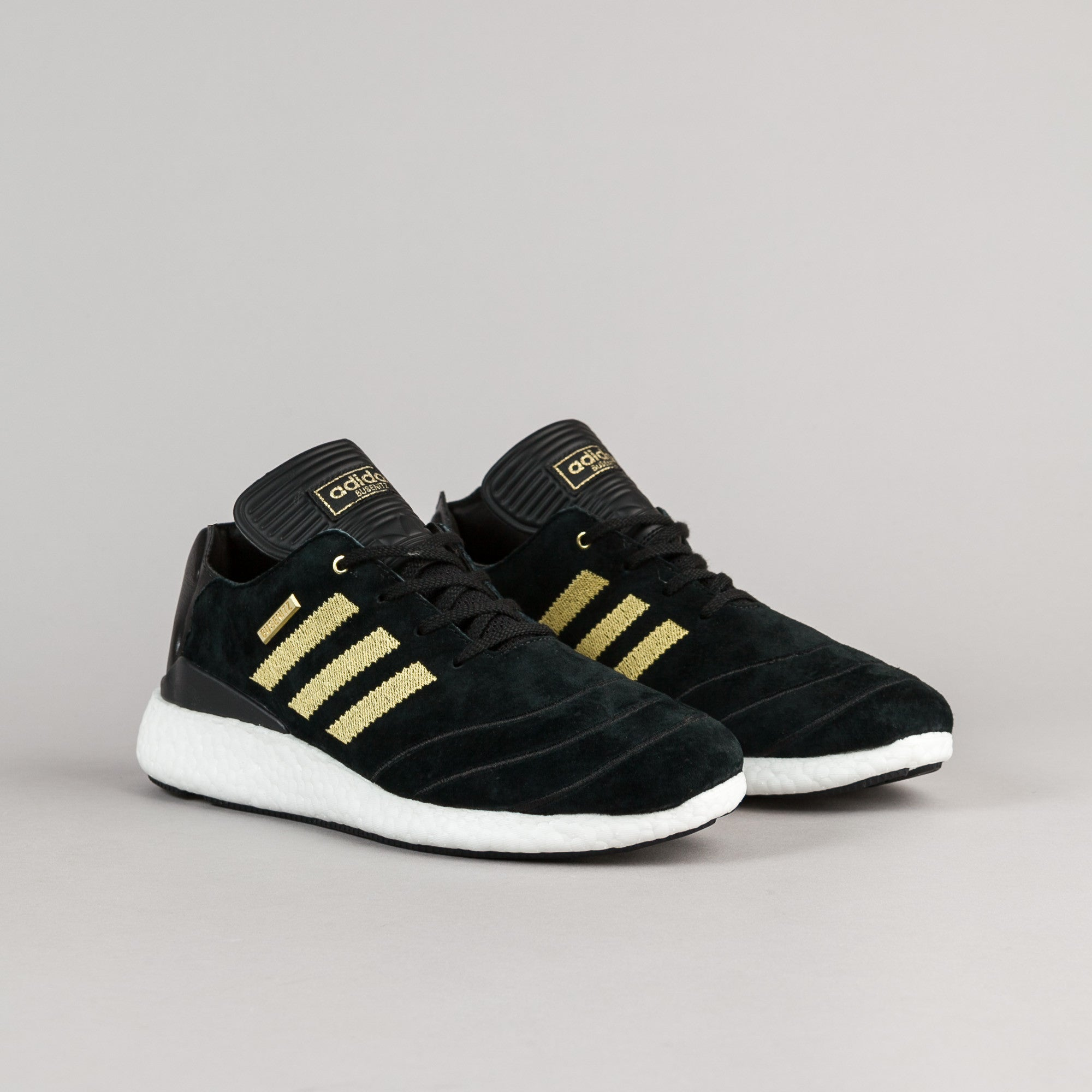 Adidas Busenitz Pure Boost 10 Year Anniversary Shoes - Core Black / Metallic Gold / White