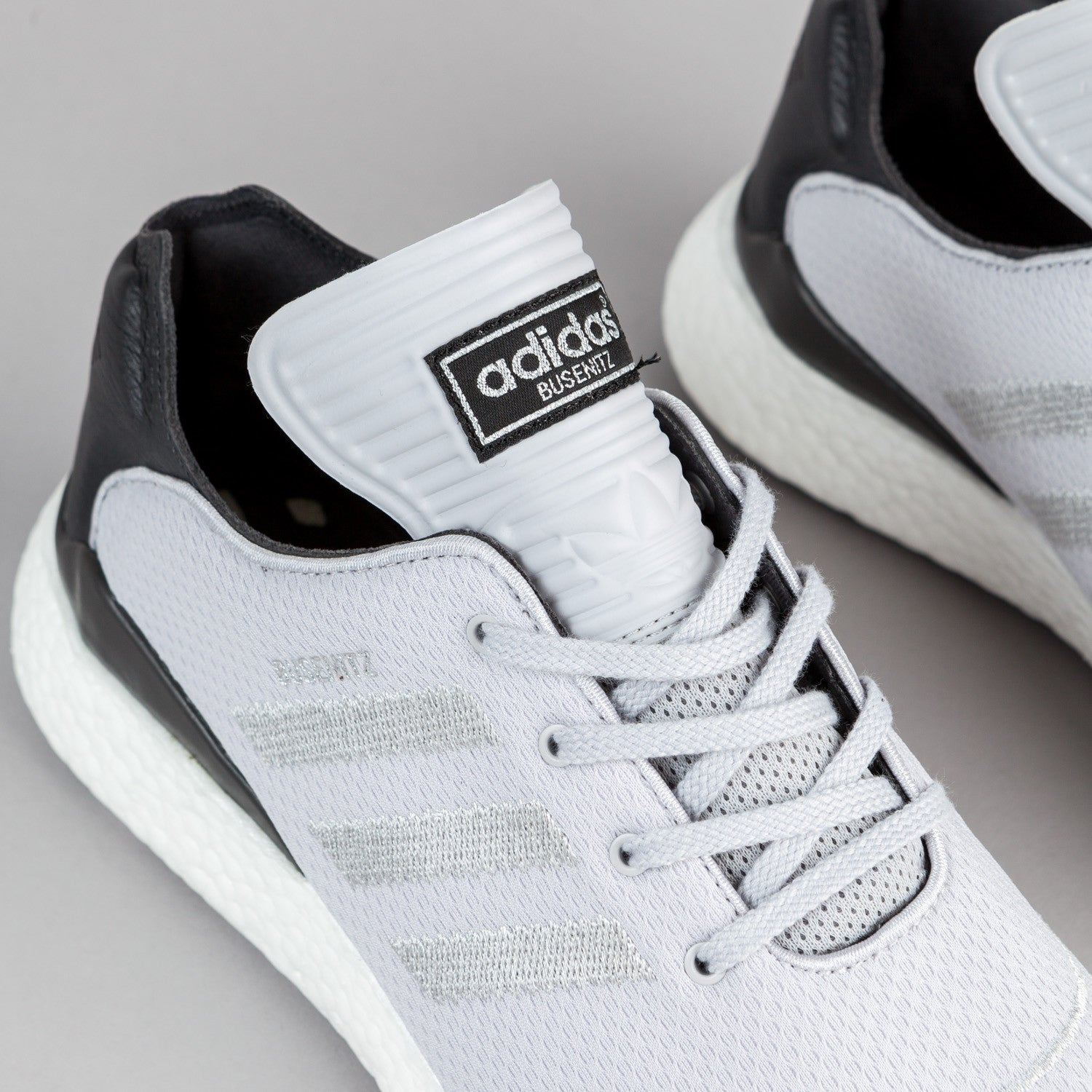 Adidas Busenitz Pure Boost Shoes - Light Grey / Dark Grey / Silver Metallic