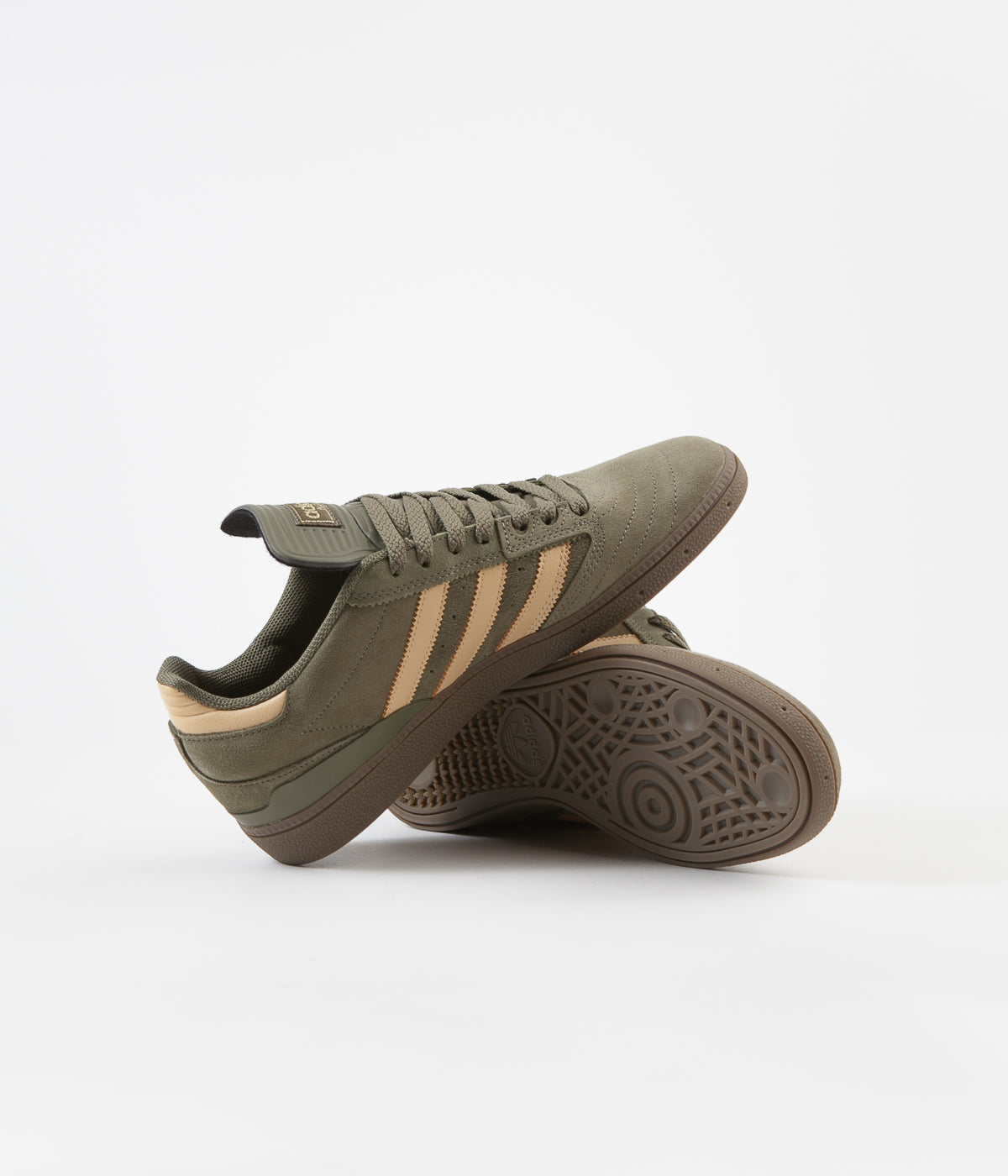 Adidas Busenitz Shoes - Raw Khaki / Glow Orange / White